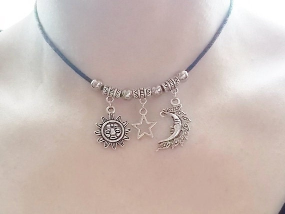 sun moon and star choker necklace handmade jewellery
