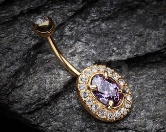 Golden Sparkle Prong Gem Belly Button Ring