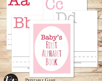 Baby Shower Game Build a Book/Library in Pink // Baby's First Alphabet Book // With Cover