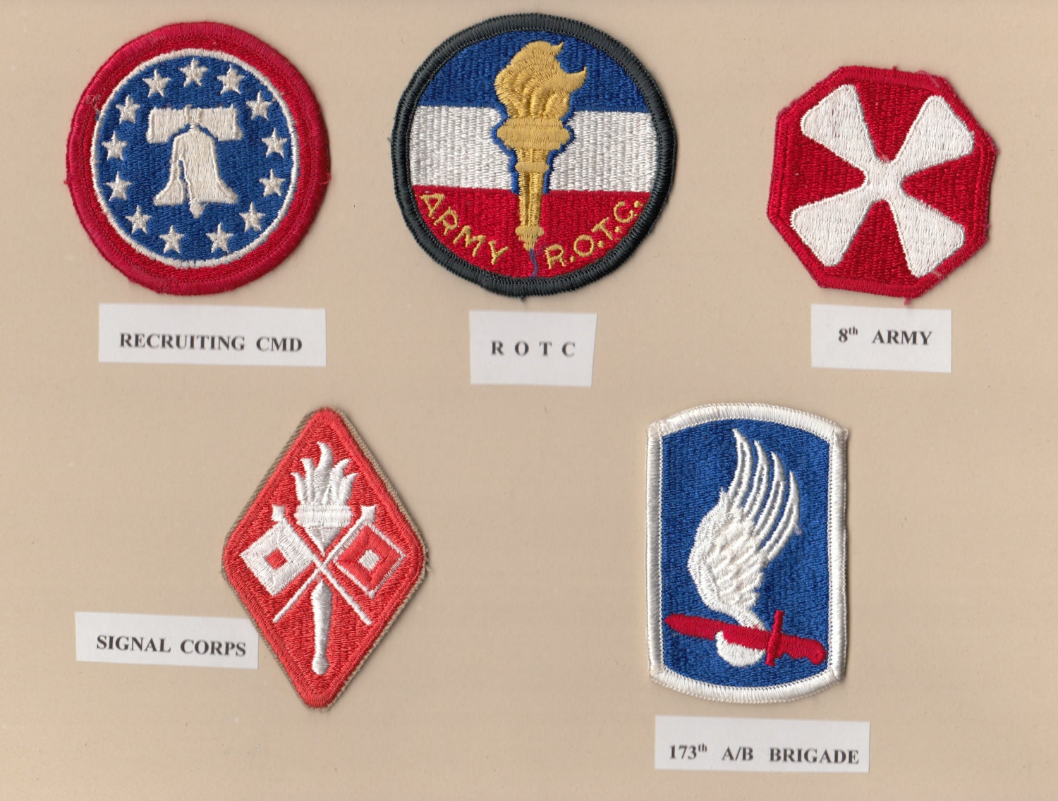5 Us Patches: Recruiting Cmd, Army Rotc, 8th Army, Signal Corps,
