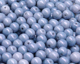 50pcs Czech Pressed Glass Beads Round 6mm Opaque Blue Ceramic Look