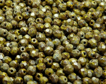 100pcs Czech Fire-Polished Faceted Glass Beads Round 4mm Opaque Olivine Travertine