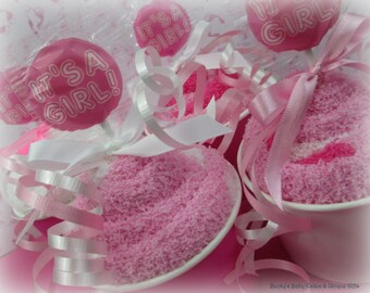 Girl Baby Shower Favor - Sock Cupcakes, It's a Girl Fuzzy Sock Cupcakes, Baby Shower Prize