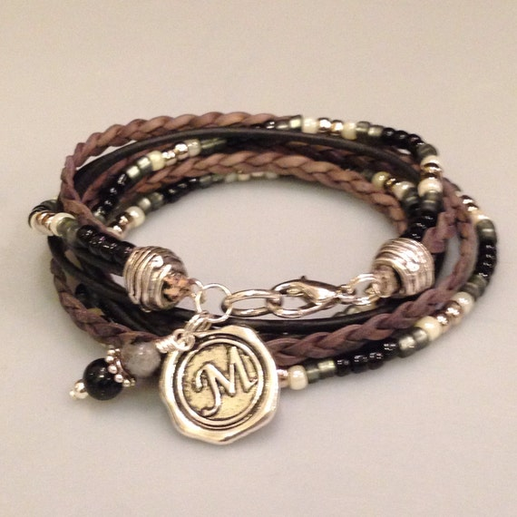 leather bracelet beaded boho wrap braceletunisex leather