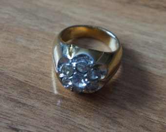 Vintage Jewelry Ring Gold Filled Cubic Zirconia Flower Big E-054