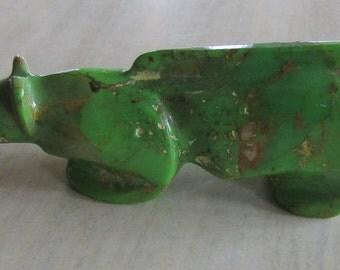 Dyed Green Turquoise Mountail Lion Fetish