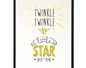 Twinkle twinkle little star - limited edition hand-pulled original screenprint. Perfect for a nursery or kids room!