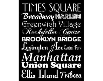New York City Poster Places names and Landmarks Poster Print Typography Scroll Wall Art