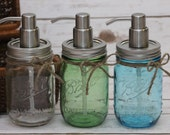 Pint mason jar soap dispenser - Vintage Blue - Vintage Green - Clear - Purple