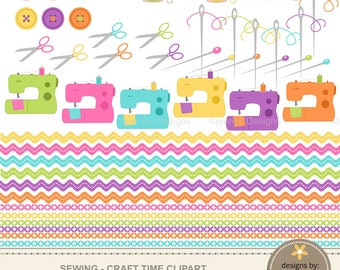 Sewing Craft Clipart, Digital Scrapbooking Buttons, Sewing Machine, Pins, Needles, Thread Spool, Ric-rac, Stitches, Scissors