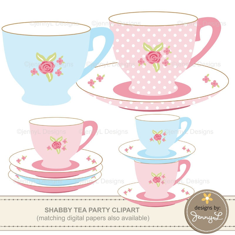 50  off tea party clipart birthday bridal baby shower kettle