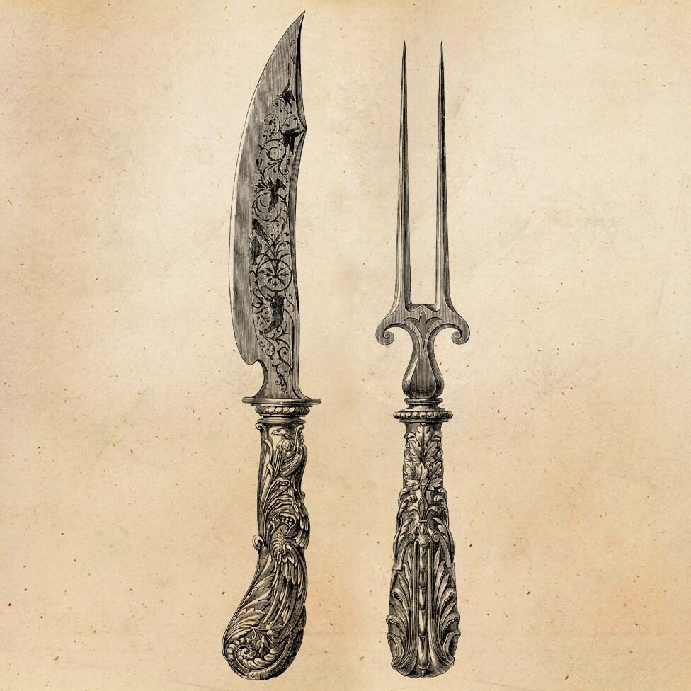 Vintage Knife Drawing Vintage Knife Fork