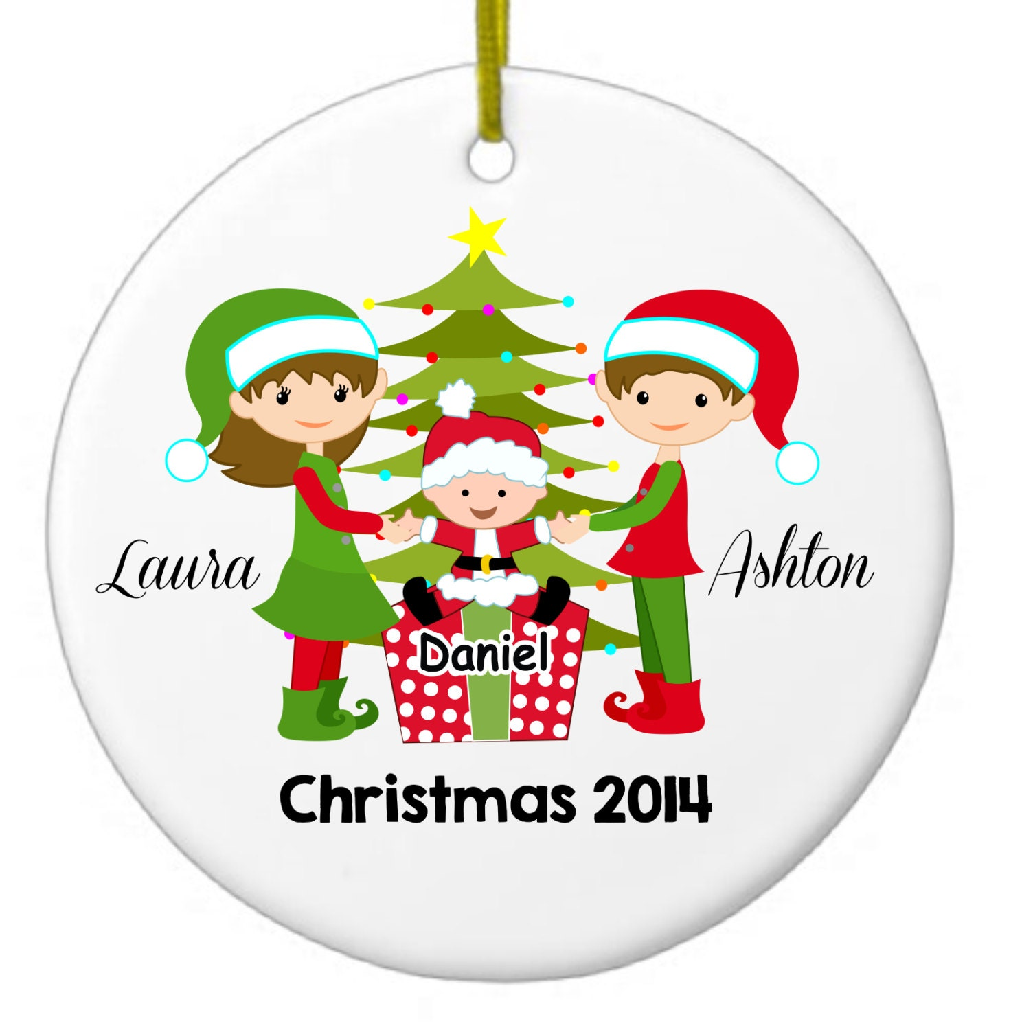 Personalized family ornament christmas by chasingbutterfliesbo for Custom engraved christmas ornaments