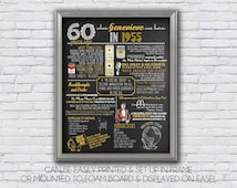 Personalized 60th Birthday Poster, 1955 Chalkboard Printable, 1955 Events, Milestone Birthday, Anniversary  - High Resolution Digital File