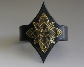 Gorgeous Original Arm Band in Black Leather and Brass