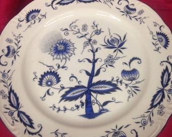 Blue Onion Porcelain Pedestal Cake Plate - Great Gift Idea
