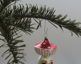 Czech Bohemian Christmas Glass Ornament Painted Toadstool