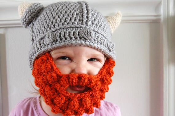 Baby, Toddler, or Child Crochet Viking Helmet Hat with Beard