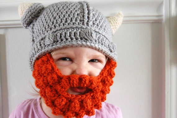 Crochet Viking Hat With Beard : Baby, Toddler, or Child Crochet Viking Helmet Hat with Beard