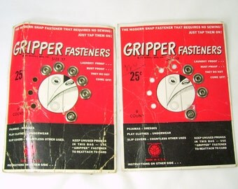 2 Cards Vintage Gripper Fasteners Snaps Tap On Silver Size 17 Rust Proof