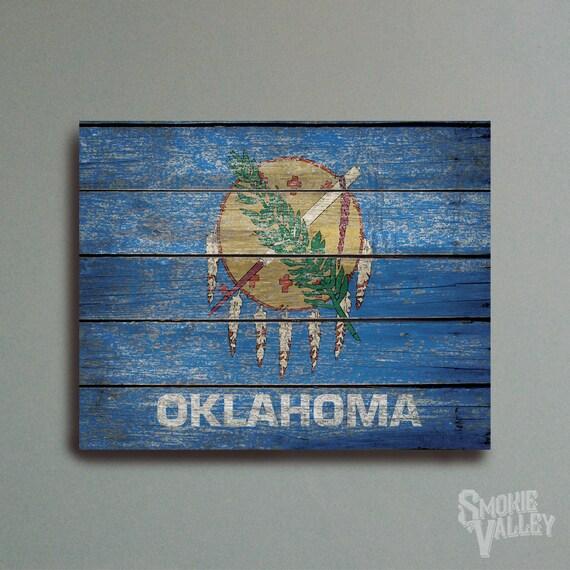 Distressed Oklahoma Flag Rustic Flag Decor 16x20 By Smokievalley