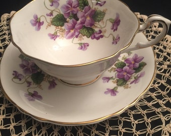 antique Paragon England Lavender teacup and saucer