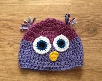 Owl crochet beanie hat photo prop