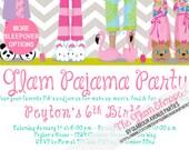 Sleepover Slumber Spa Party Invitation Birthday Party Invitation - YOU PRINT