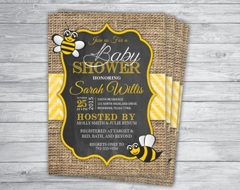 BEE HONEY BUMBLE Any Event Baby Shower Invitations Printed, Mommy-to-bee, sweet as can bee, Bumble bee invites