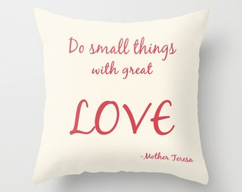 Love pillow, Do all things with love Mother Teresa quote pillow, typography pillow, inspirational pillow, word pillow, dorm pillow cover
