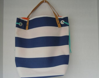 Colorful striped tote