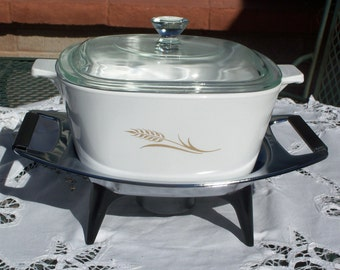 Corning Ware Rare Wheat Pattern Saucepan/Casserole with Lid and Candle Warming Stand - W-1- 3/4-B