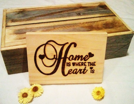 Wooden welcome door sign home is where the heart by - Wooden door signs for home ...