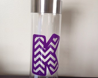 Water Bottle with Initial in Chevron Pattern and Name -  Your Choice of Colors!