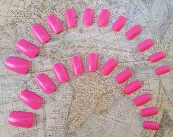 24 Hot Pink Nails - Short Press on Nails - Glue on Nails - Pink Nails - Short Pink Nails - Round tip nails - Bright Pink Nails