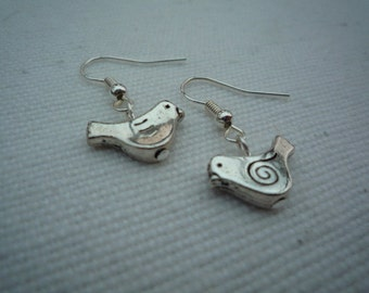 Pretty quirky silver bird earrings