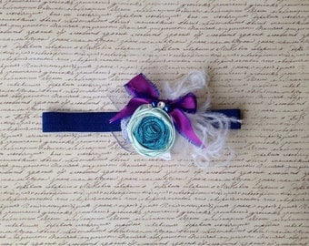 Silk Rosette, Feathers and Lace Headband or Clip in Blue Jewel, Purple and White