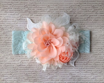 Girls or Ladies Headband in Peach, Mint and Ivory