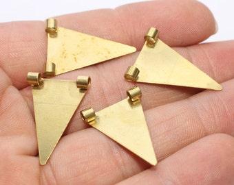 100 Raw Brass Triangle Pendant , 17x25mm Triangle Charms , Triangle Jewelry, Geometric Necklace,  AE70