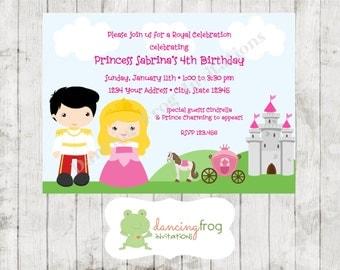 Princess and Prince Birthday Invitation - Printed Birthday Invitation by Dancing Frog Invitations