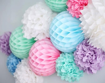 10 MIXED size tissue paper pom pom HONEYCOMB BALLS hanging pm poms /party /birthday /wedding / decoration/ 10 colors