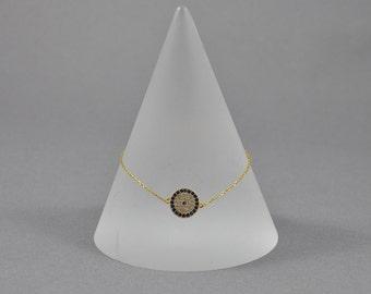 Gold Plated Sterling Silver Evil Eye Bracelet. Delicate Bracelet. Birthday Gift. Gold Bracelet.