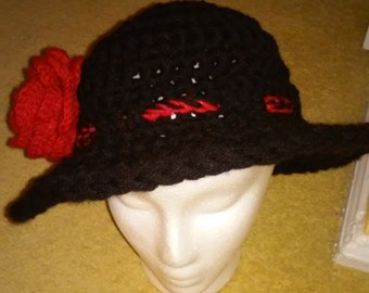 Crochet black womens hat with red rose