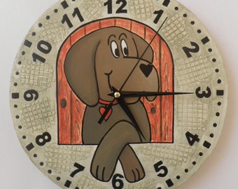 Dog clock  puppy kids room, modern wall clock, wooden wall clock, Housewares, nursery décor, gift for children, unique wall clock, clock