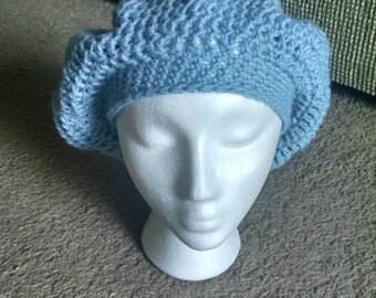 Handmade crochet light blue slouchy beret