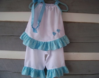 Pillowcase Dress  Boutique Style Pillowcase Dress Outfit    Handmade.   12-18 months  White with Blue Ruffles  Toddler ruffled capris