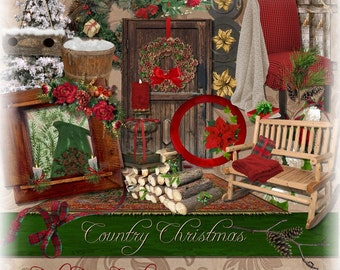 Christmas Country Style Digital Scrapbooking Kit.