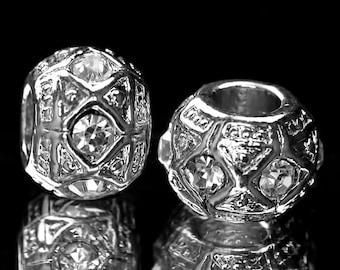 Clear Rhinestones Spacer Beads Fit European Charm Bracelets #K-182