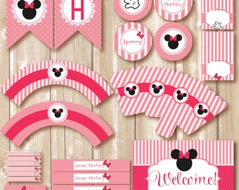 Minnie Birthday Party package. Minnie mouse inspired printables. Minnie Printables. Pink minnie printables. Pink minnie party.