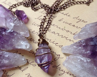 Amethyst Necklace - Raw Amethyst Necklace - Amethyst Jewelry - Healing Necklace - Crystal Necklace - Raw Crystal Necklace  - Amethyst